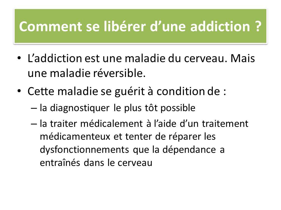Comment se libérer dune addiction ? Laddiction est une maladie du cerveau. Mais une maladie réversible. Cette maladie se guérit à condition de : – la