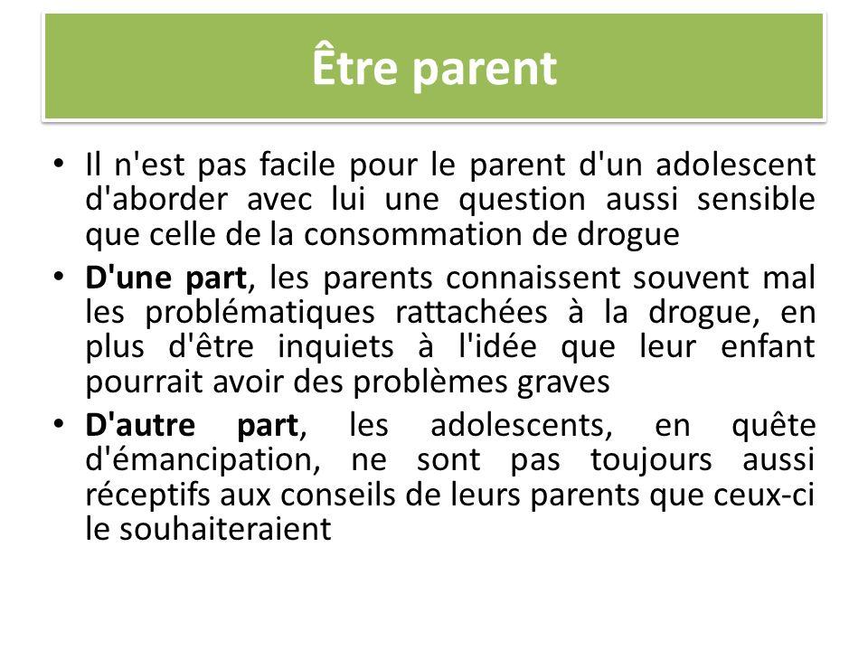 Être parent Il n'est pas facile pour le parent d'un adolescent d'aborder avec lui une question aussi sensible que celle de la consommation de drogue D
