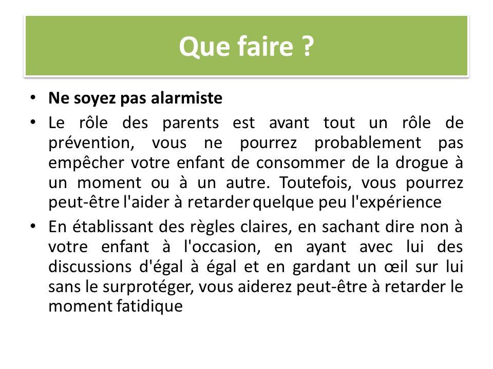 Que faire ? Ne soyez pas alarmiste Le rôle des parents est avant tout un rôle de prévention, vous ne pourrez probablement pas empêcher votre enfant de