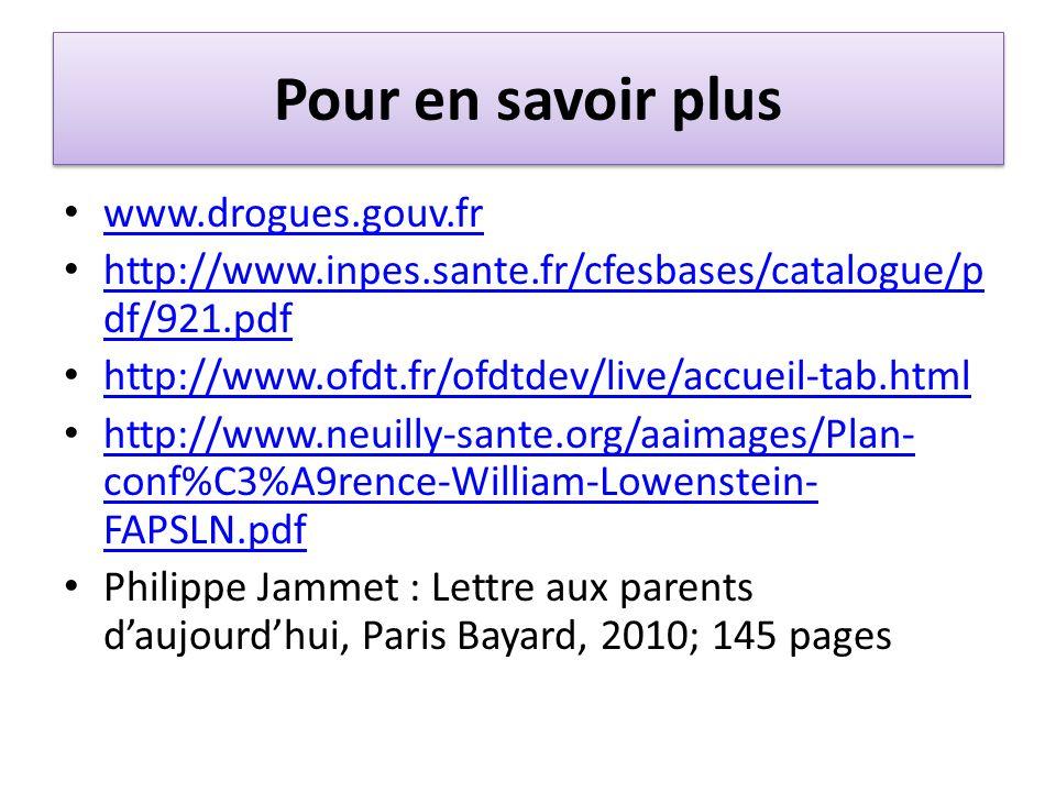 Pour en savoir plus www.drogues.gouv.fr http://www.inpes.sante.fr/cfesbases/catalogue/p df/921.pdf http://www.inpes.sante.fr/cfesbases/catalogue/p df/