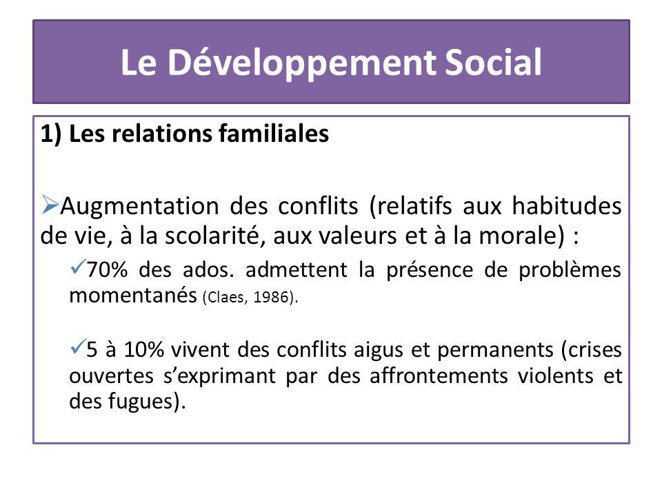 Le Développement Social 1) Les relations familiales Augmentation des conflits (relatifs aux habitudes de vie, à la scolarité, aux valeurs et à la mora