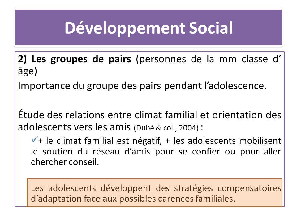 Développement Social 2) Les groupes de pairs (personnes de la mm classe d âge) Importance du groupe des pairs pendant ladolescence. Étude des relation