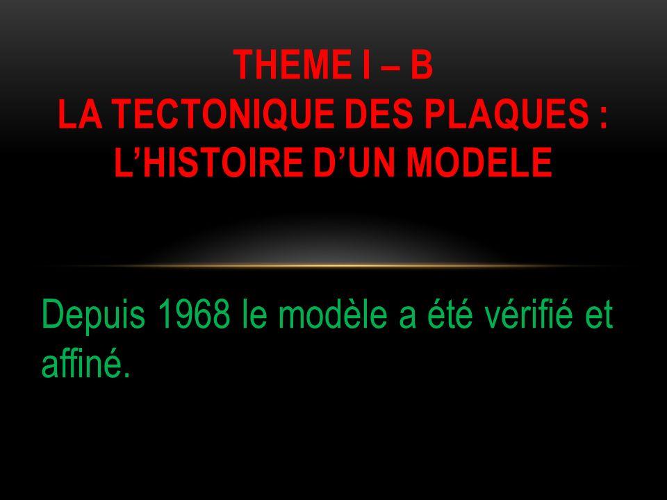 Depuis 1968 le modèle a été vérifié et affiné. THEME I – B LA TECTONIQUE DES PLAQUES : LHISTOIRE DUN MODELE