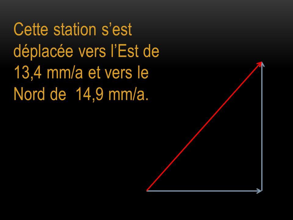 Cette station sest déplacée vers lEst de 13,4 mm/a et vers le Nord de 14,9 mm/a.