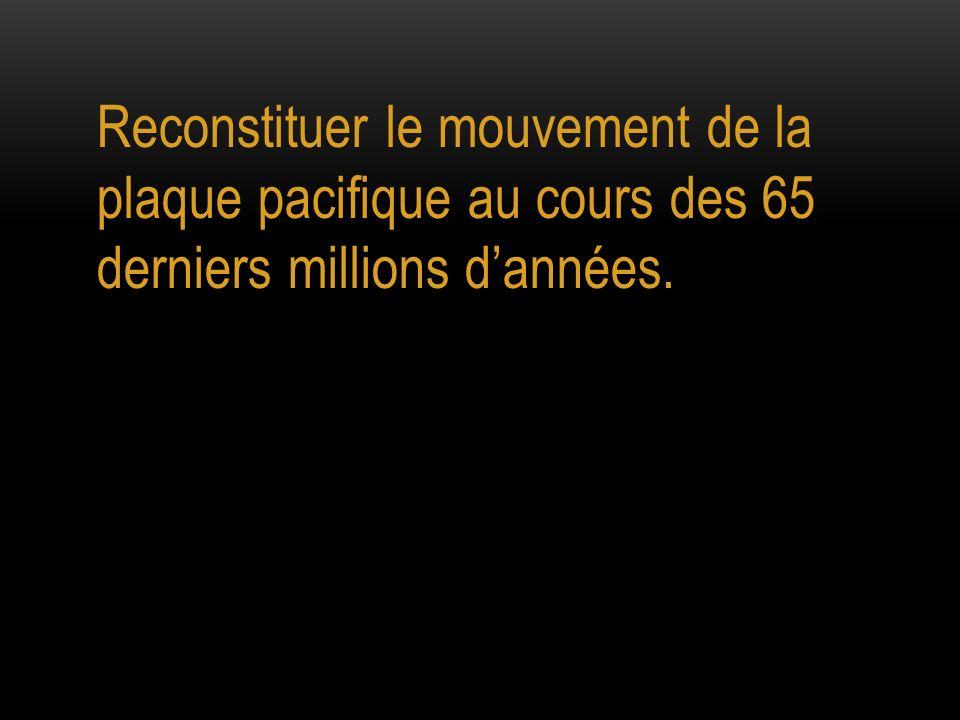 Reconstituer le mouvement de la plaque pacifique au cours des 65 derniers millions dannées.