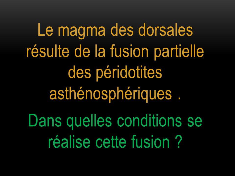 Le magma des dorsales résulte de la fusion partielle des péridotites asthénosphériques. Dans quelles conditions se réalise cette fusion ?