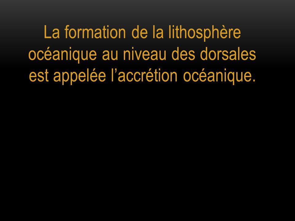 La formation de la lithosphère océanique au niveau des dorsales est appelée laccrétion océanique.