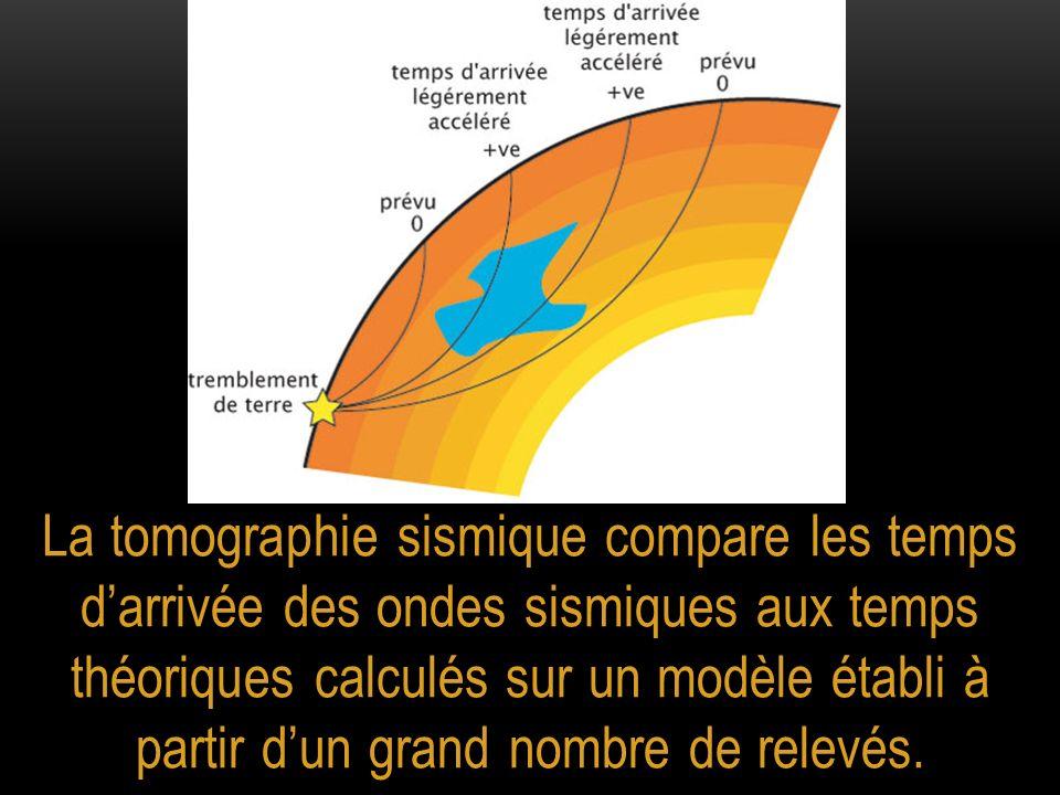 La tomographie sismique compare les temps darrivée des ondes sismiques aux temps théoriques calculés sur un modèle établi à partir dun grand nombre de