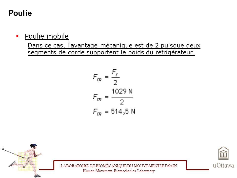 Poulie Poulie mobile Dans ce cas, l'avantage mécanique est de 2 puisque deux segments de corde supportent le poids du réfrigérateur. LABORATOIRE DE BI