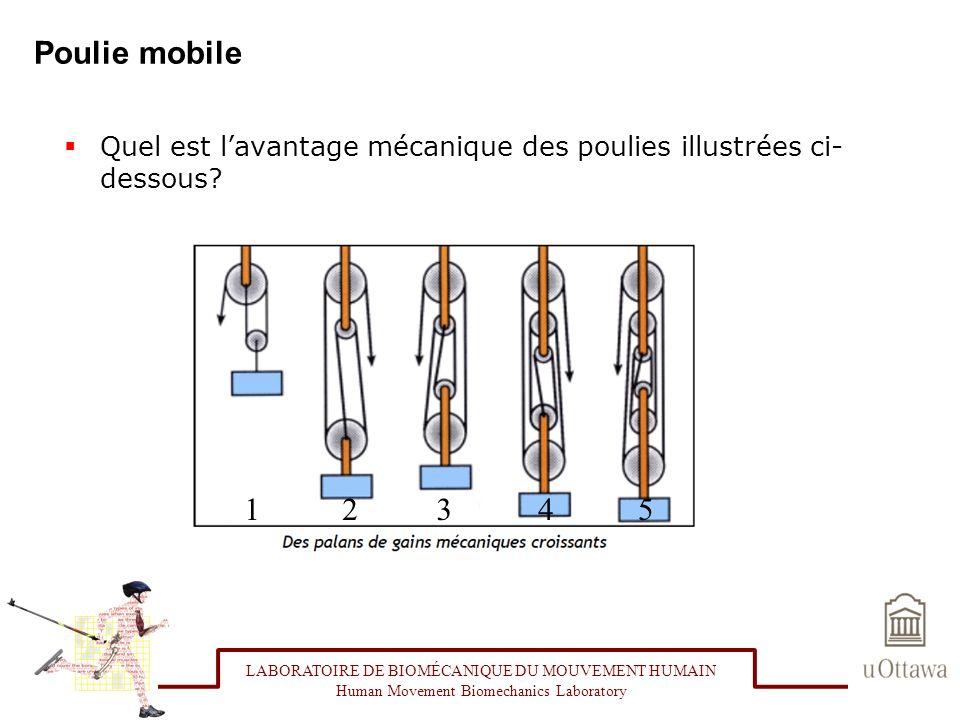 Poulie mobile Quel est lavantage mécanique des poulies illustrées ci- dessous? LABORATOIRE DE BIOMÉCANIQUE DU MOUVEMENT HUMAIN Human Movement Biomecha