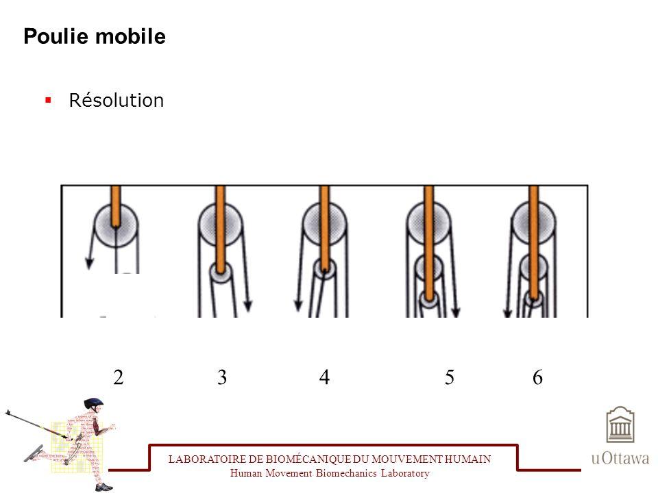 Poulie mobile Résolution LABORATOIRE DE BIOMÉCANIQUE DU MOUVEMENT HUMAIN Human Movement Biomechanics Laboratory 23456