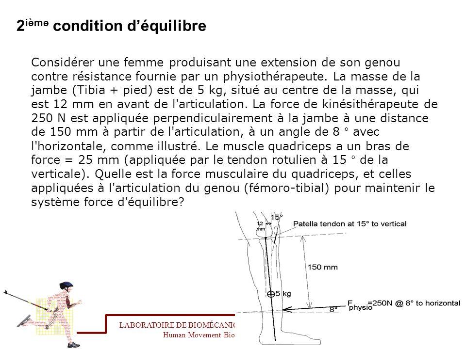 2 ième condition déquilibre Considérer une femme produisant une extension de son genou contre résistance fournie par un physiothérapeute. La masse de