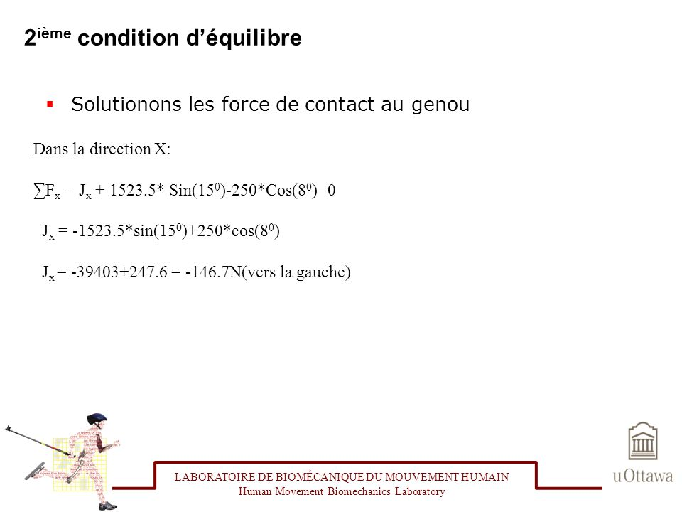 2 ième condition déquilibre Solutionons les force de contact au genou LABORATOIRE DE BIOMÉCANIQUE DU MOUVEMENT HUMAIN Human Movement Biomechanics Laboratory Dans la direction X: F x = J x + 1523.5* Sin(15 0 )-250*Cos(8 0 )=0 J x = -1523.5*sin(15 0 )+250*cos(8 0 ) J x = -39403+247.6 = -146.7N(vers la gauche)