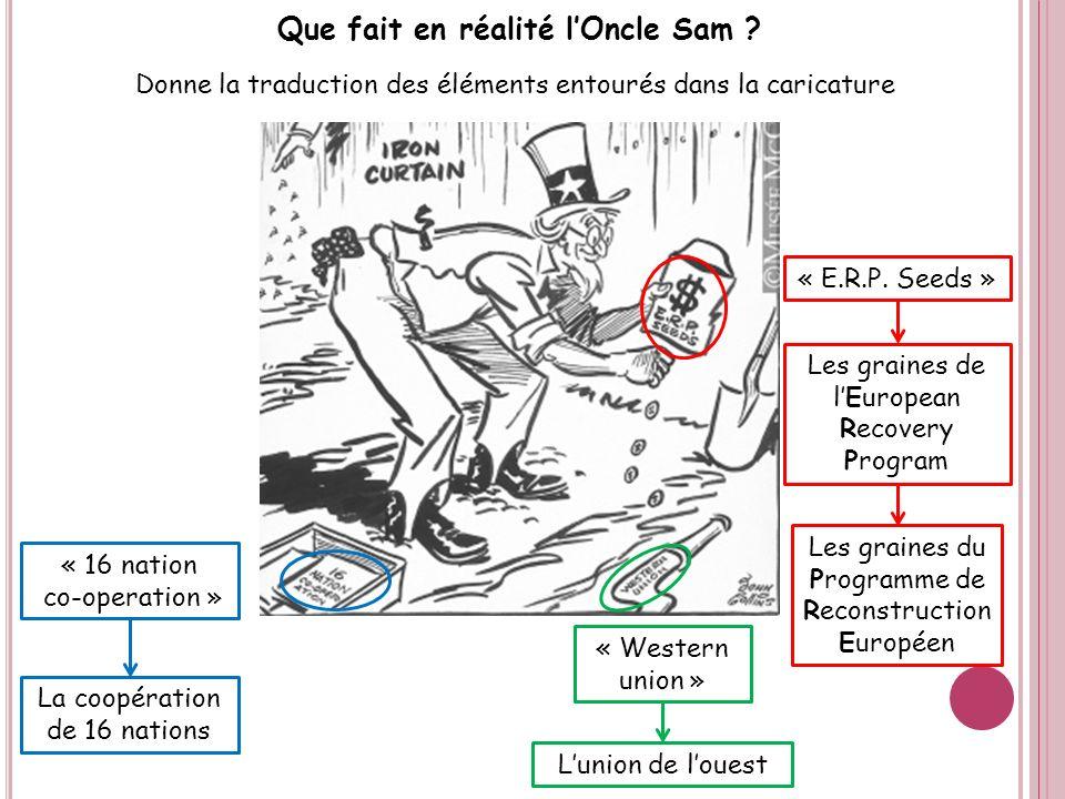 Que fait en réalité lOncle Sam ? Donne la traduction des éléments entourés dans la caricature « 16 nation co-operation » « E.R.P. Seeds » « Western un