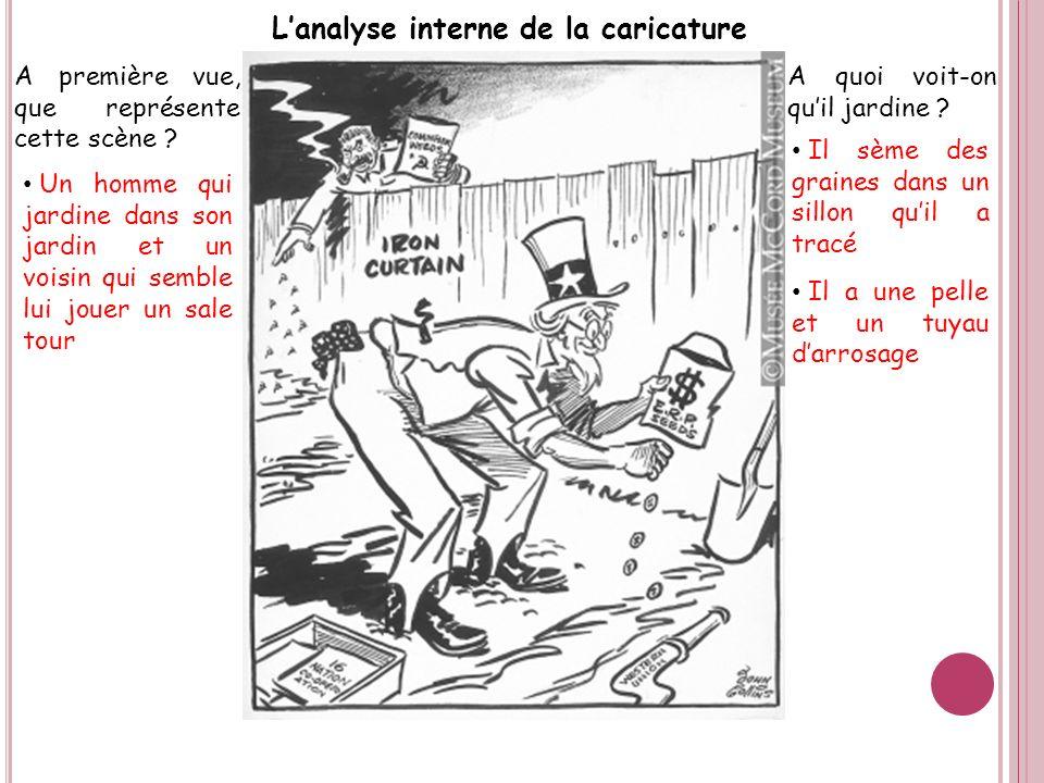 Lanalyse interne de la caricature A première vue, que représente cette scène ? Un homme qui jardine dans son jardin et un voisin qui semble lui jouer