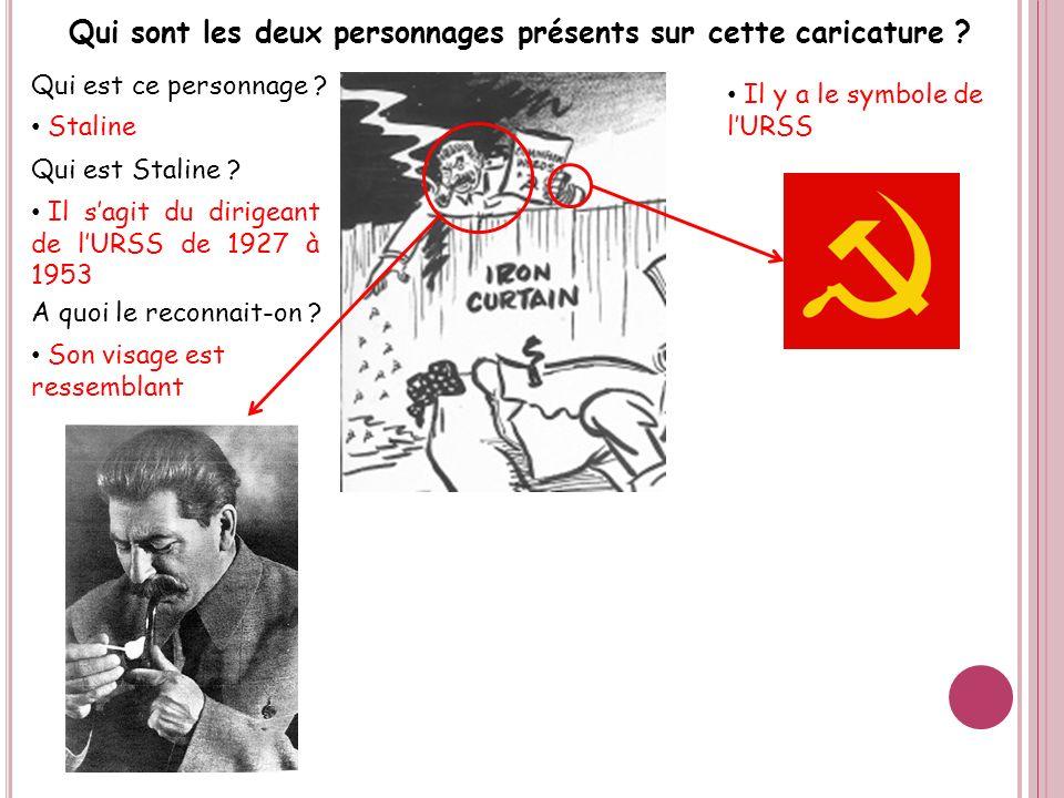 Qui est ce personnage ? Staline A quoi le reconnait-on ? Qui est Staline ? Il sagit du dirigeant de lURSS de 1927 à 1953 Son visage est ressemblant Il