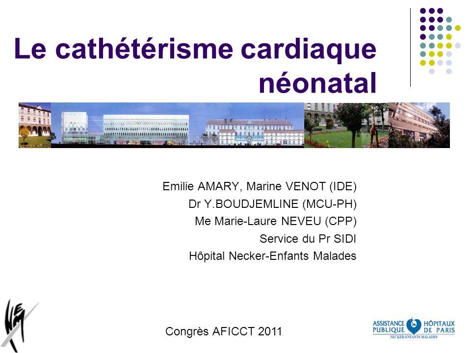 Congrès AFICCT 2011 Le cathétérisme cardiaque néonatal Emilie AMARY, Marine VENOT (IDE) Dr Y.BOUDJEMLINE (MCU-PH) Me Marie-Laure NEVEU (CPP) Service d