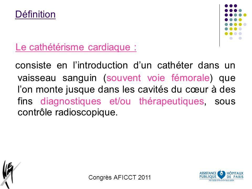 Congrès AFICCT 2011 Définition Le cathétérisme cardiaque : consiste en lintroduction dun cathéter dans un vaisseau sanguin (souvent voie fémorale) que