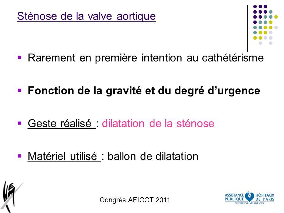 Congrès AFICCT 2011 Sténose de la valve aortique Rarement en première intention au cathétérisme Fonction de la gravité et du degré durgence Geste réal