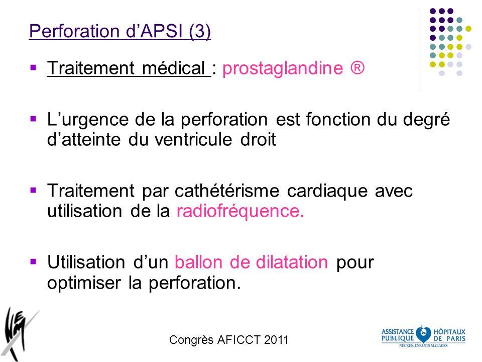 Congrès AFICCT 2011 Perforation dAPSI (3) Traitement médical : prostaglandine ® Lurgence de la perforation est fonction du degré datteinte du ventricu