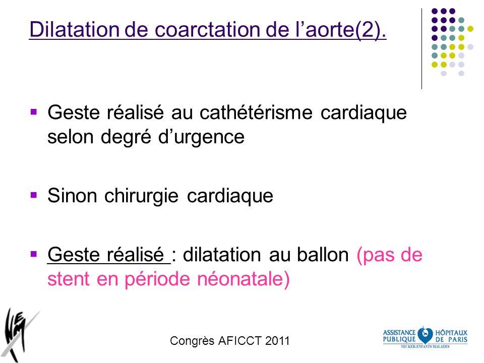 Congrès AFICCT 2011 Dilatation de coarctation de laorte(2). Geste réalisé au cathétérisme cardiaque selon degré durgence Sinon chirurgie cardiaque Ges