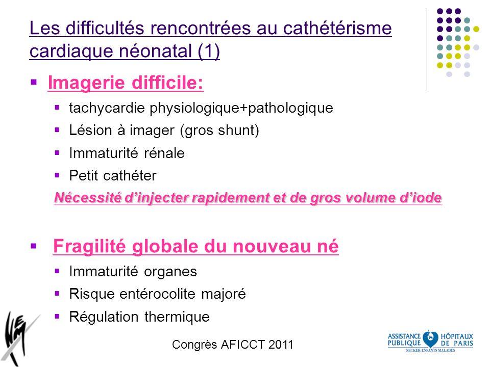 Congrès AFICCT 2011 Les difficultés rencontrées au cathétérisme cardiaque néonatal (1) Imagerie difficile: tachycardie physiologique+pathologique Lési