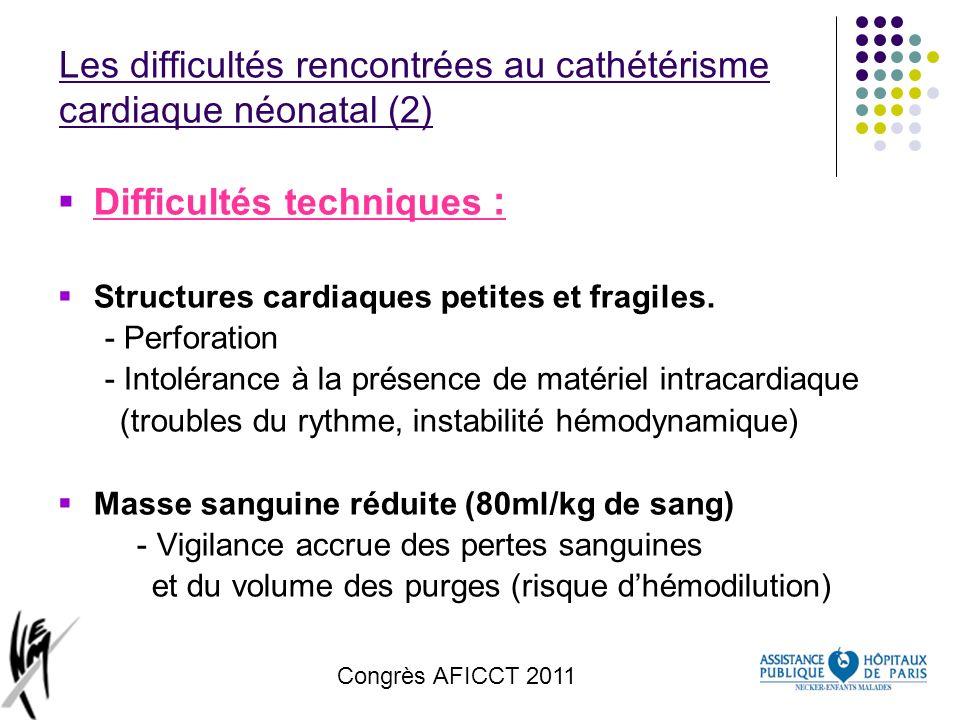 Congrès AFICCT 2011 Les difficultés rencontrées au cathétérisme cardiaque néonatal (2) Difficultés techniques : Structures cardiaques petites et fragi