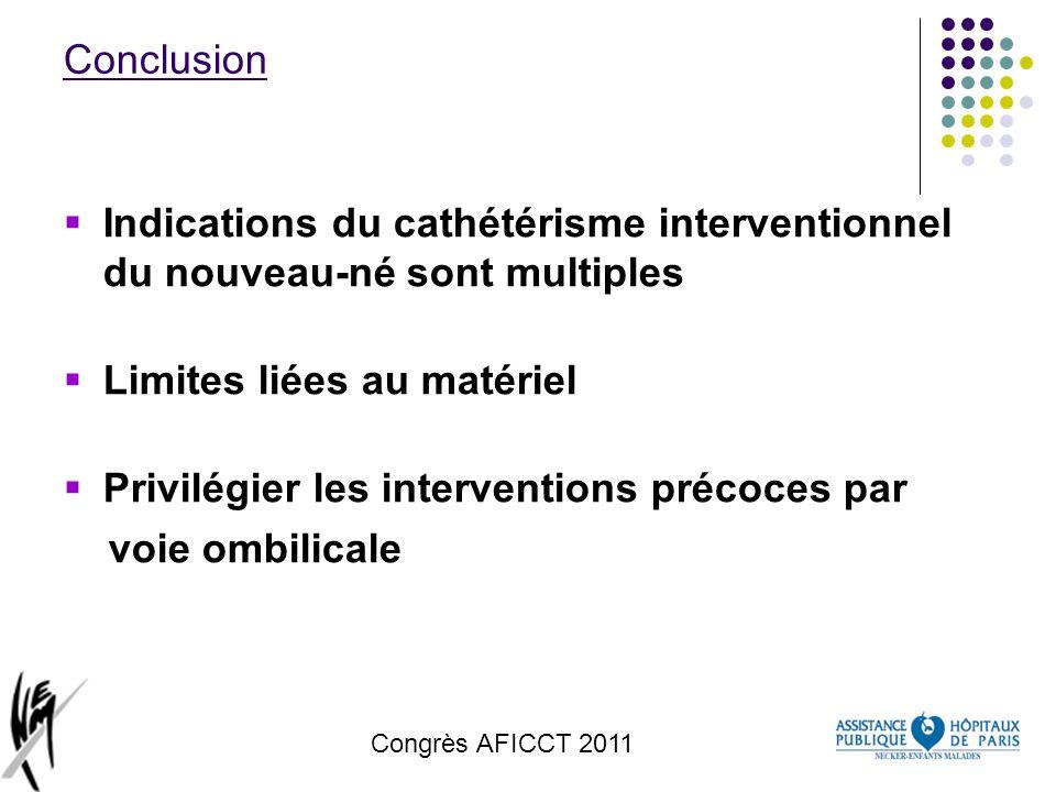 Congrès AFICCT 2011 Conclusion Indications du cathétérisme interventionnel du nouveau-né sont multiples Limites liées au matériel Privilégier les inte