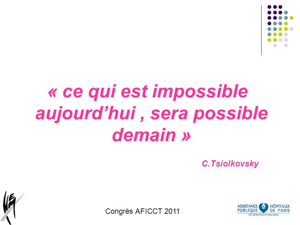 Congrès AFICCT 2011 « ce qui est impossible aujourdhui, sera possible demain » C.Tsiolkovsky