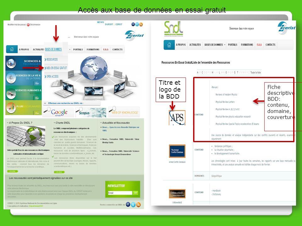 Accès aux base de données en essai gratuit Titre et logo de la BDD Fiche descriptive BDD: contenu, domaine, couverture
