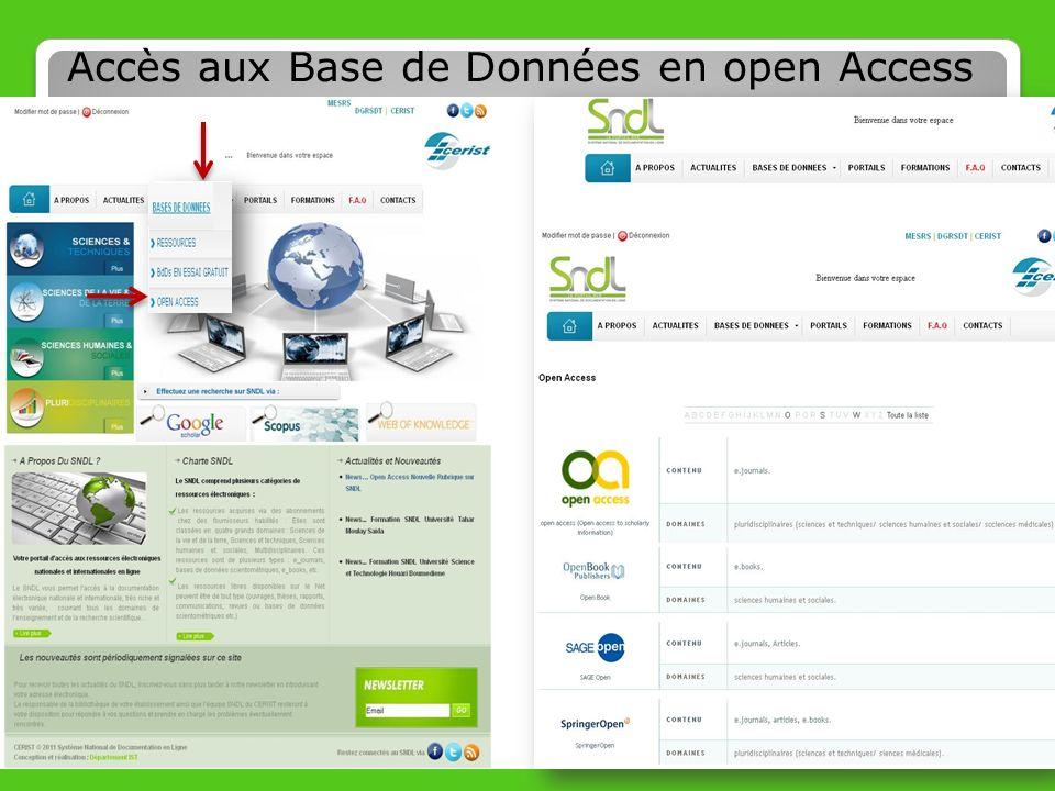 Accès aux Base de Données en open Access