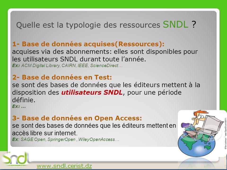 Quelle est la typologie des ressources SNDL ? 1- Base de données acquises(Ressources): acquises via des abonnements: elles sont disponibles pour les u