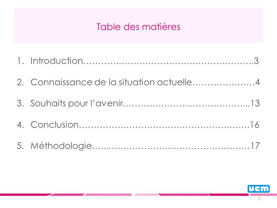 2 Table des matières 1.Introduction………………………………………………….3 2.Connaissance de la situation actuelle…………………4 3.Souhaits pour lavenir…………………..………………...13 4.Conclusion………………………………………………….16 5.Méthodologie…...…………………………………………17