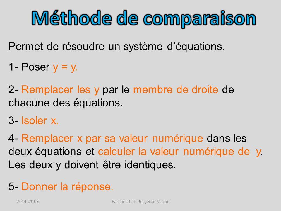 Permet de résoudre un système déquations. 1- Poser y = y.