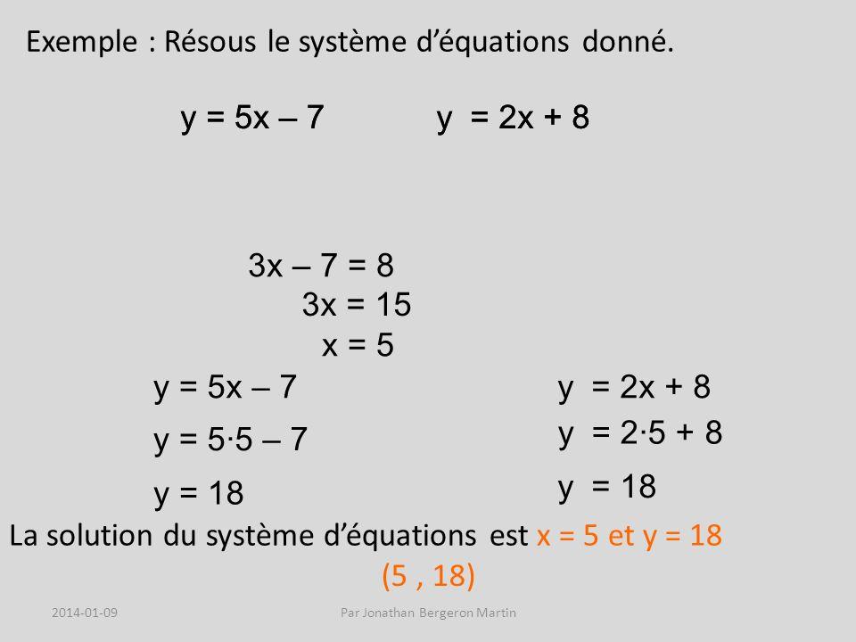 Exemple : Résous le système déquations donné.
