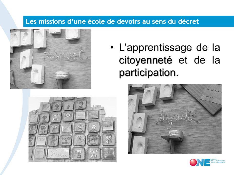 Les missions dune école de devoirs au sens du décret citoyenneté participationL'apprentissage de la citoyenneté et de la participation.