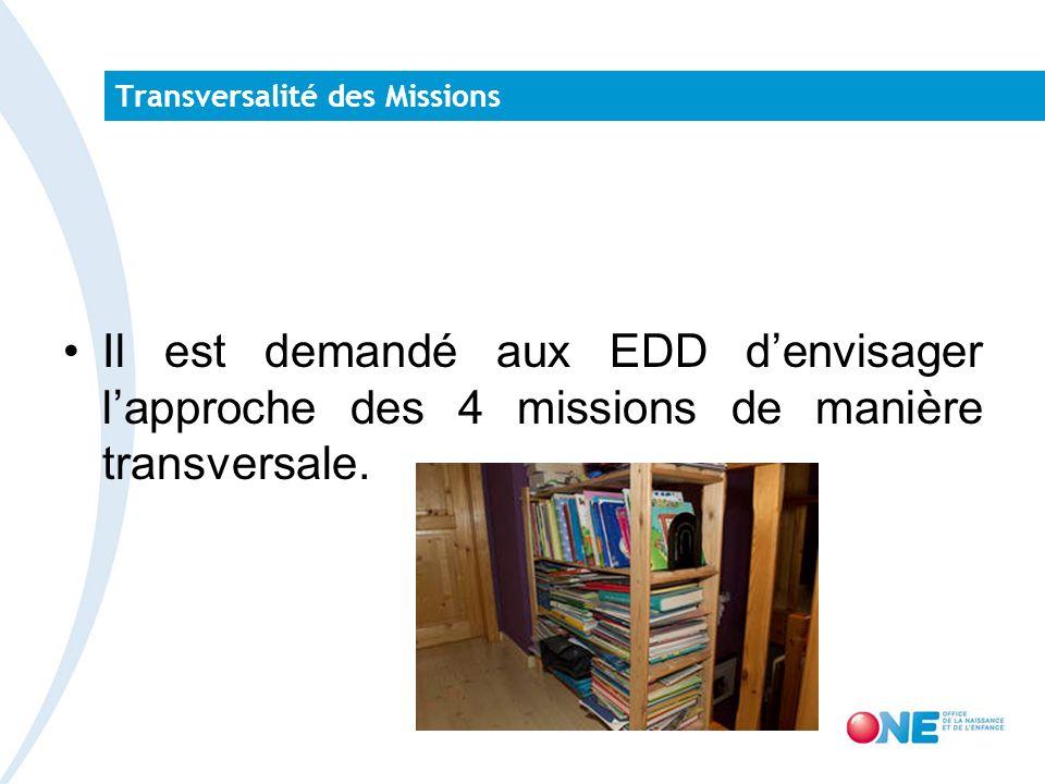 Transversalité des Missions Il est demandé aux EDD denvisager lapproche des 4 missions de manière transversale.