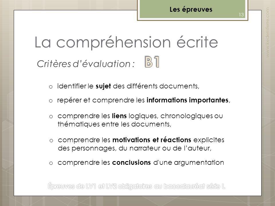 La compréhension écrite Les épreuves www.kedemferre.com o identifier le sujet des différents documents, o repérer et comprendre les informations impor