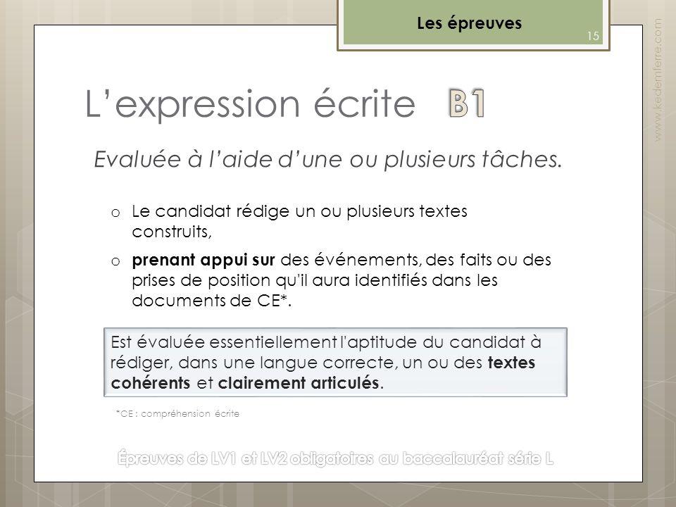Lexpression écrite Les épreuves Evaluée à laide dune ou plusieurs tâches. www.kedemferre.com o prenant appui sur des événements, des faits ou des pris