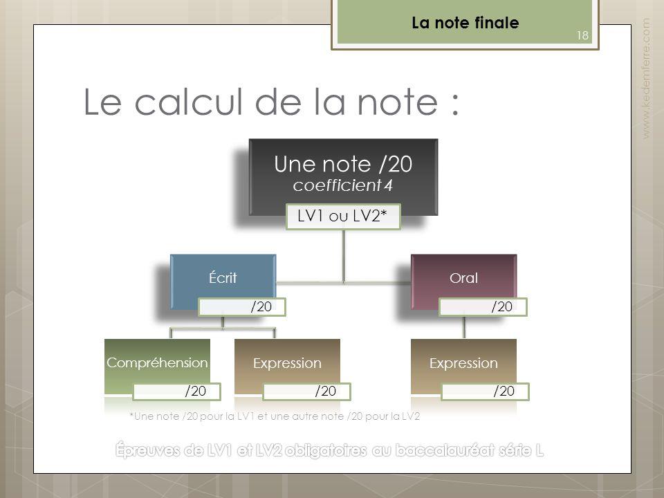 Le calcul de la note : La note finale www.kedemferre.com *Une note /20 pour la LV1 et une autre note /20 pour la LV2 18 Oral /20 Une note /20 coeffici