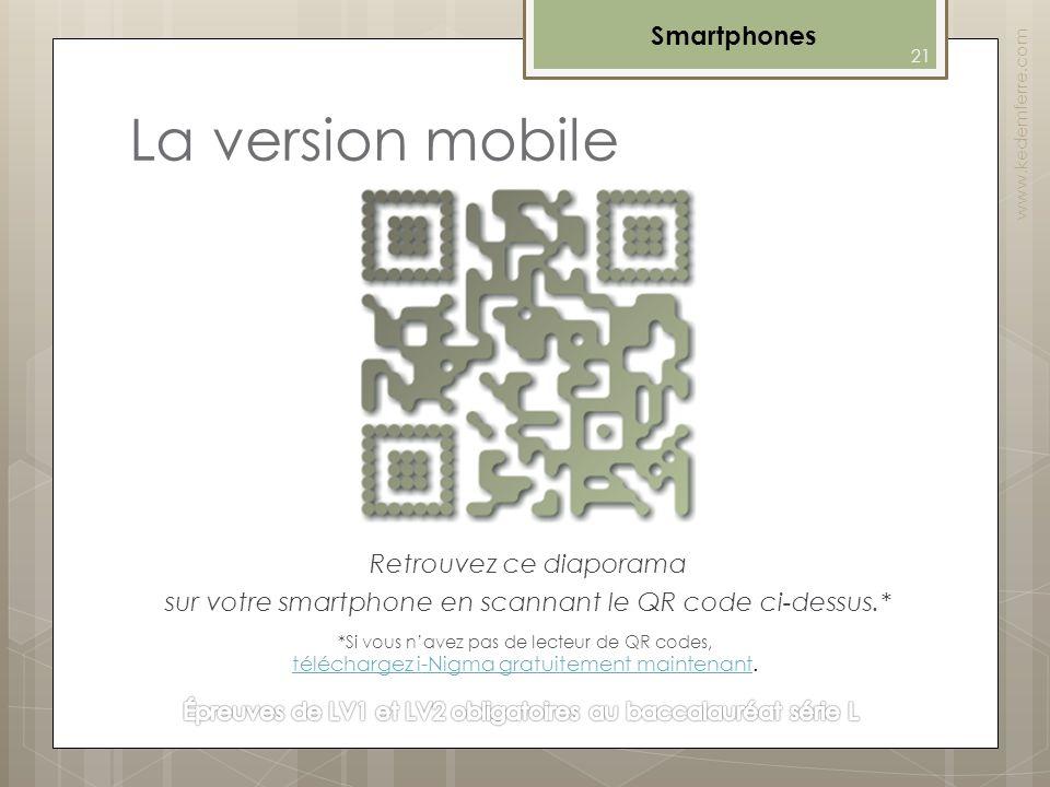 La version mobile Retrouvez ce diaporama sur votre smartphone en scannant le QR code ci-dessus.* Smartphones www.kedemferre.com 21 *Si vous navez pas