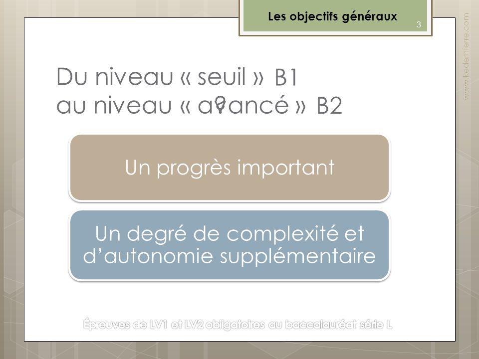 Du niveau « seuil » Les objectifs généraux www.kedemferre.com o Passer du niveau seuil B1 au niveau avancé B2 dans l'échelle du Cadre européen constit