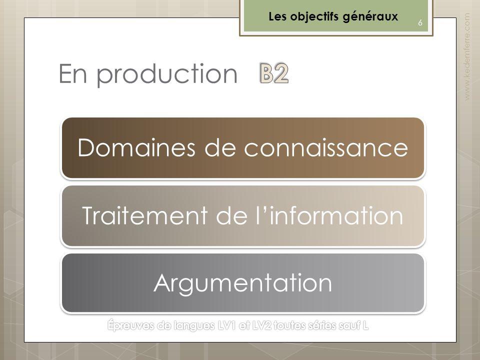 En production 6 www.kedemferre.com Les objectifs généraux Domaines de connaissance Traitement de linformation Argumentation