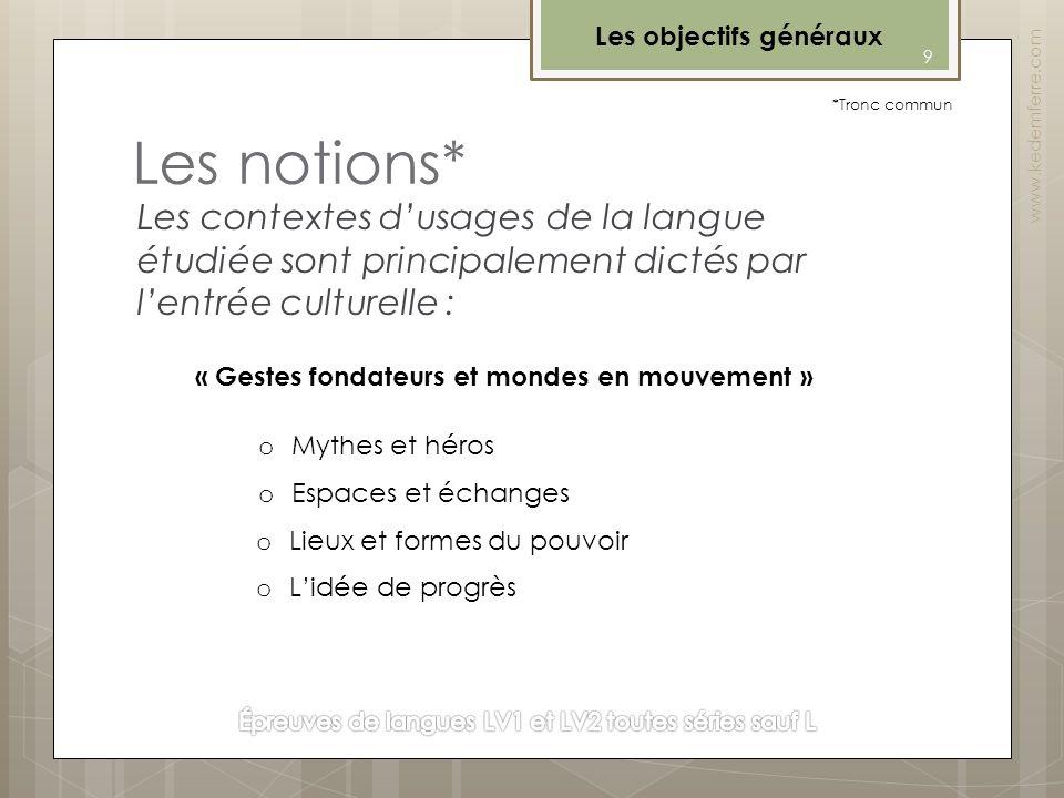 Les notions* Les contextes dusages de la langue étudiée sont principalement dictés par lentrée culturelle : oEoEspaces et échanges « Gestes fondateurs
