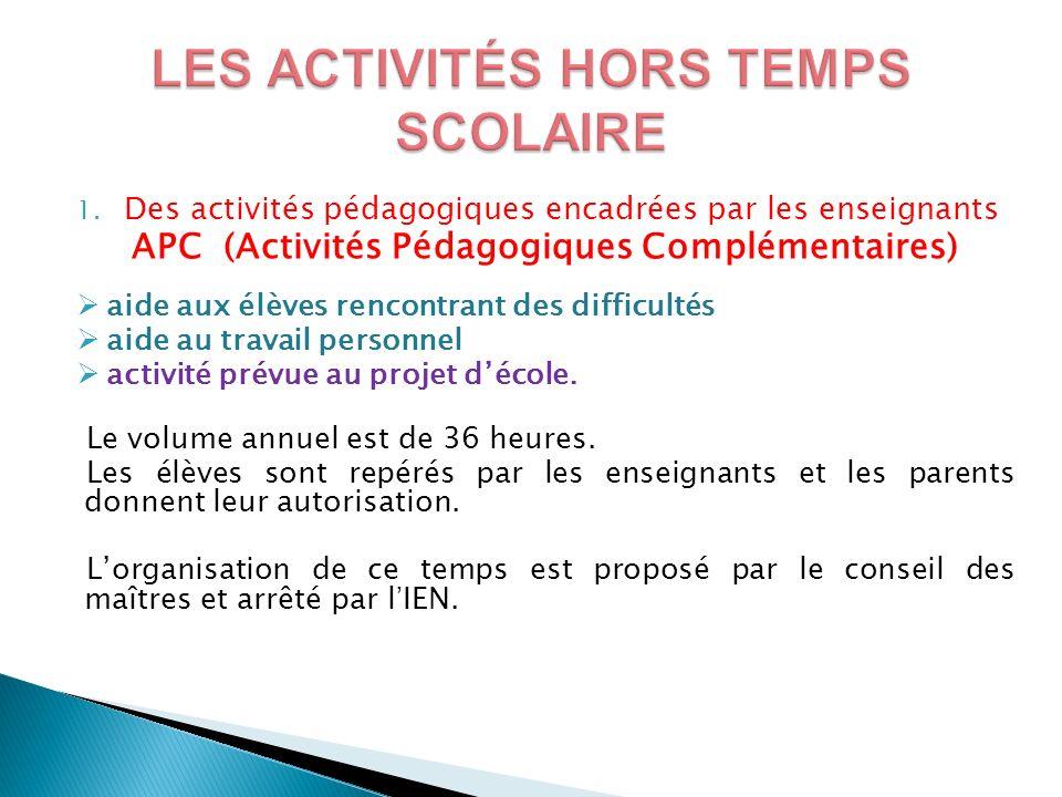 1. Des activités pédagogiques encadrées par les enseignants APC (Activités Pédagogiques Complémentaires) aide aux élèves rencontrant des difficultés a