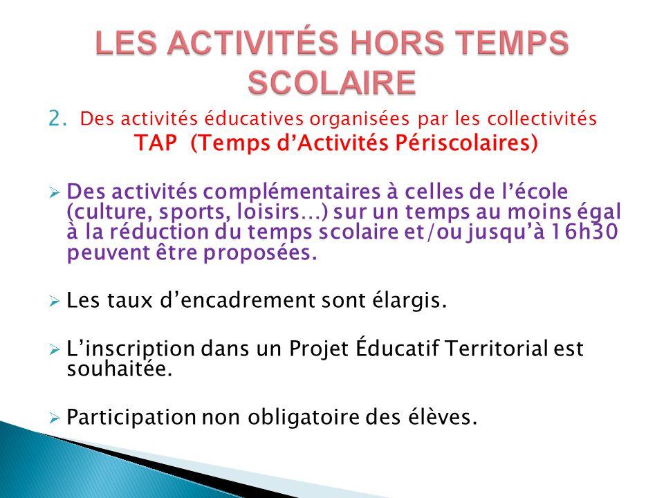 2. Des activités éducatives organisées par les collectivités TAP (Temps dActivités Périscolaires) Des activités complémentaires à celles de lécole (cu