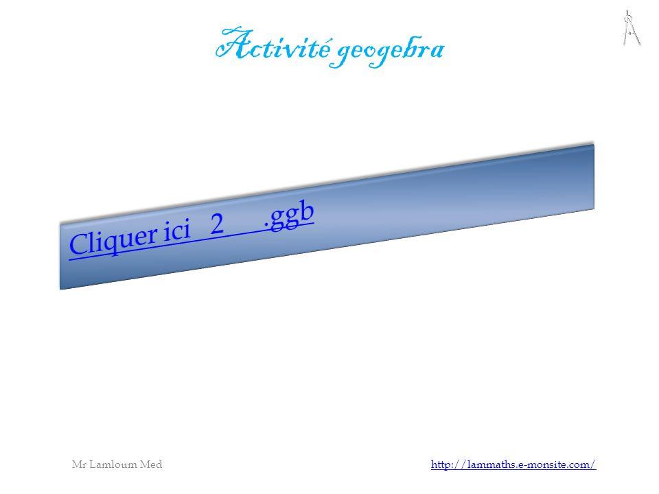 Mr Lamloum Med http://lammaths.e-monsite.com/http://lammaths.e-monsite.com/ Activité geogebra