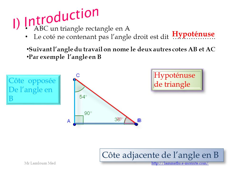 ABC un triangle rectangle en A Le coté ne contenant pas langle droit est dit ……………….