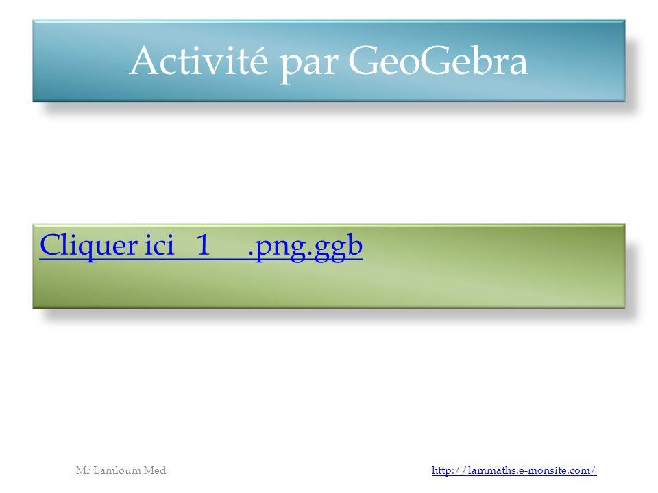 Activité par GeoGebra Mr Lamloum Med http://lammaths.e-monsite.com/http://lammaths.e-monsite.com/ Cliquer ici 1.png.ggb