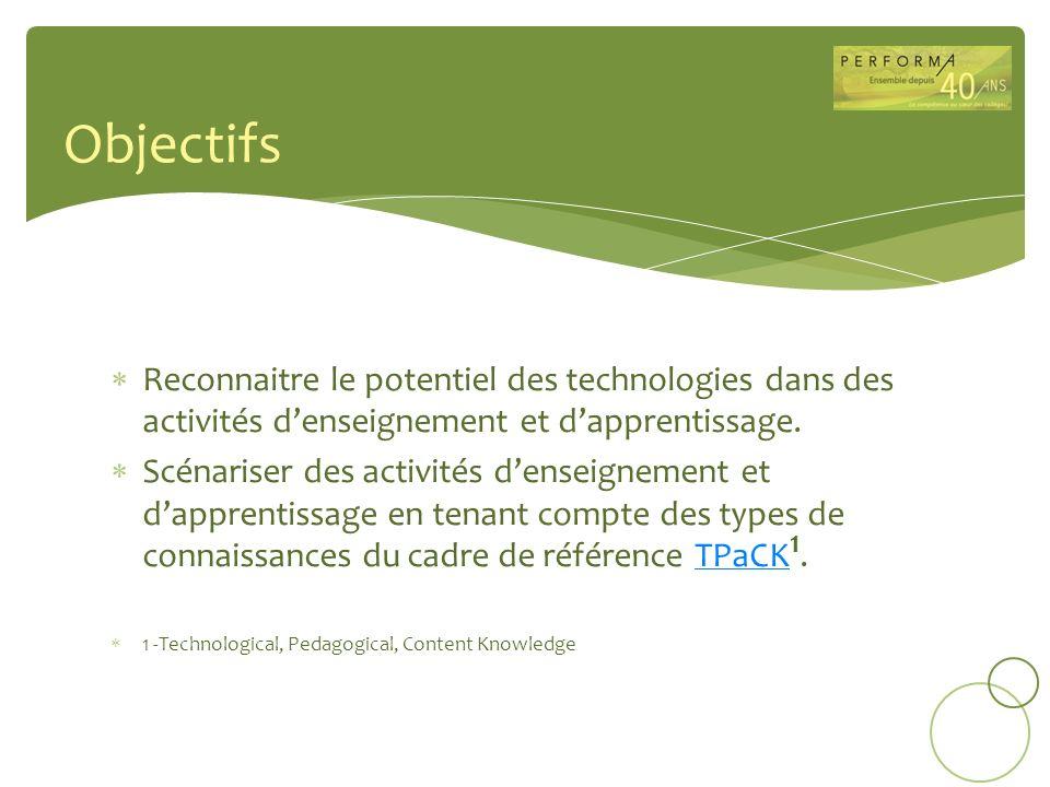 Reconnaitre le potentiel des technologies dans des activités denseignement et dapprentissage. Scénariser des activités denseignement et dapprentissage